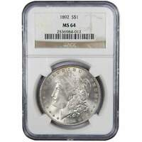 1892 MORGAN DOLLAR MINT STATE 64 NGC 90 SILVER $1 US COIN COLLECTIBLE