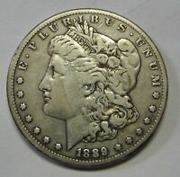 1889-CC MORGAN SILVER DOLLAR GRADING SOLID VF BEAUTIFUL GENUINE UNCLEANED COIN