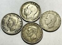 GREAT BRITAIN    4  SILVER SHILLINGS   .3636 ASW   $1 START