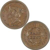 1856 BRAIDED HAIR HALF CENT AU ABOUT UNCIRCULATED COPPER PENNY 1/2C US TYPE COIN