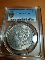 1901-P AU 58 PCGS  DATE COIN WITH MS SHINE $1 MORGAN SILVER DOLLAR