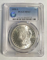 MORGAN SILVER DOLLAR 1890 S PCGS MINT STATE 63