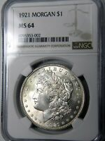 1921 MORGAN $1 NGC MINT STATE 64 BRILLIANT PQ LAST YEAR OF ISSUE