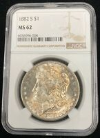 1882-S NGC MINT STATE 62 MORGAN SILVER DOLLAR $1 US COIN