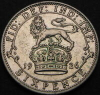 GREAT BRITAIN 6 PENCE 1926   SILVER   GEORGE V   VF   289