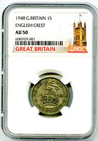 1948 GREAT BRITAIN 1 SHILLING 12 PENCE NGC AU50 ENGLISH CRES