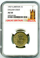 1957 GREAT BRITAIN 1 SHILLING 12 PENCE NGC AU50 ENGLISH CRES
