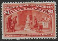 UNITED STATES STAMPS 1893 1$ COLUMBUS MLH VF