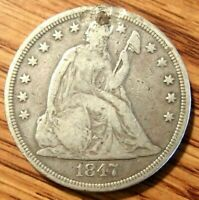 1847 SEATED LIBERTY SILVER $1 DOLLAR NO MOTTO HOLED AND PLUGGED SEE PICTURES