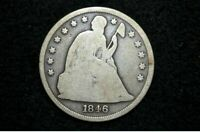 1846 SEATED LIBERTY SILVER DOLLAR  G/VG  GET 5 OFF AT CHECKOUT