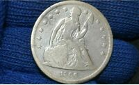 1866 SEATED LIBERTY SILVER DOLLAR  VF DETAILS  ONLY 49 K MINTED