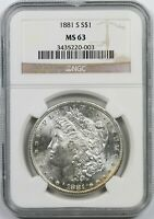 1881-S $1 NGC MINT STATE 63 MORGAN SILVER DOLLAR