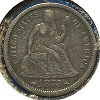 1873, ARROWS AT DATE, 10C SEATED LIBERTY DIME 62283