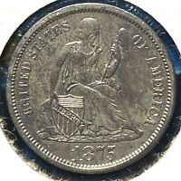 1875-S 10C SEATED LIBERTY DIME, S BELOW BOW 62285