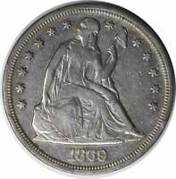1869 LIBERTY SEATED SILVER DOLLAR VF UNCERTIFIED