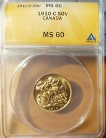 1910-C CANADA GOLD SOVEREIGN ANACS MINT STATE 60