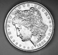 1904-P MORGAN SILVER DOLLAR. CHEST FEATHERS. HIGH GRADE.   INVENTORY A