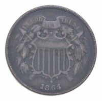 TWO CENT   1864 US TWO 2 CENT PIECE   FIRST COIN WITH IN GOD WE TRUST MOTTO  011