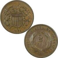 1864 LARGE MOTTO TWO CENT PIECE XF EF LY FINE BRONZE 2C US TYPE COIN