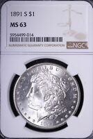 1891-S MORGAN SILVER DOLLAR NGC MINT STATE 63 TOUGHER DATE/GRADE SHIPS FREE UNMY