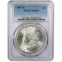 1897 S MORGAN DOLLAR MINT STATE 64 PCGS 90 SILVER $1 US COIN COLLECTIBLE