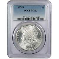1897 S MORGAN DOLLAR MINT STATE 62 PCGS 90 SILVER $1 US COIN COLLECTIBLE