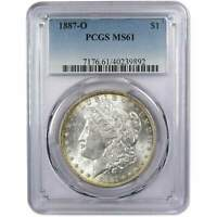 1887 O MORGAN DOLLAR MINT STATE 61 PCGS 90 SILVER $1 US COIN COLLECTIBLE