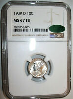 LOT OF ONE  1  NGC  / CAC CERTIFIED MS67 FB 1939 D SILVER ME