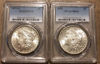 US COIN LOT  2  DIFFERENT MINT MORGAN SILVER DOLLARS PCGS MS
