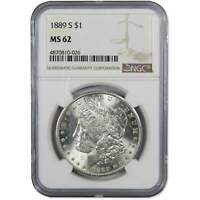 1889 S MORGAN DOLLAR MINT STATE 62 NGC 90 SILVER $1 US COIN COLLECTIBLE