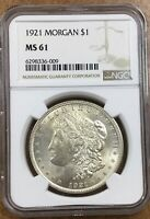 1921-P MORGAN VAM-1AC2 DISPLACED FIELD AT E-P, FILE LINES IN STATES NGC MINT STATE 61