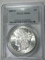 1889-S MORGAN $1 PCGS MINT STATE 64 OLD BLUE HOLDER EXTRA CLEAN CHEEK AND FLASHY LUSTER