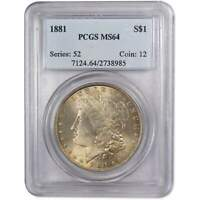 1881 MORGAN DOLLAR MINT STATE 64 PCGS 90 SILVER $1 US COIN COLLECTIBLE