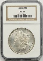1880-O $1 NGC MINT STATE 61 BETTER DATE MORGAN SILVER DOLLAR