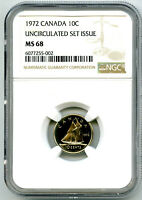1972 CANADA 10 CENT NGC MS68 UNCIRCULATED SET ISSUE DIME COI
