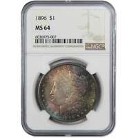 1896 MORGAN DOLLAR MINT STATE 64 NGC 90 SILVER $1 US COIN COLLECTIBLE TONED