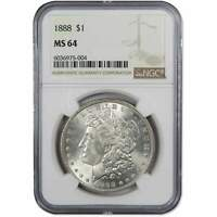 1888 MORGAN DOLLAR MINT STATE 64 NGC 90 SILVER $1 US COIN COLLECTIBLE