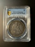 1847 SEATED LIBERTY DOLLAR PCGS GENUINE XF DETAIL PLANCHET F