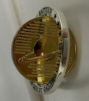 3D GOLD SATURN PLANET COIN SILVER RINGS MOVABLE SWIVEL NASA