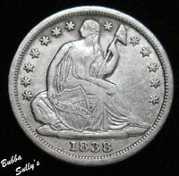 1838 SEATED LIBERTY HALF DIME <> VF DETAILS