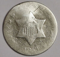 1853 THREE CENT SILVER.  CIRCULATED.  164328