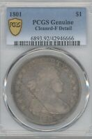 1801 BUST  DOLLAR, PCGS  F FINE DETAILS, CLEANED