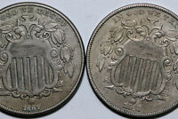 1867-P VF NO RAYS & 1868-P EXTRA FINE  SHIELD NICKELS FIVE CENT PIECE NUM6268
