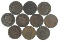 LOT OF 10 1800'S 1880 1889 INDIAN HEAD PENNY CENTS   US COIN