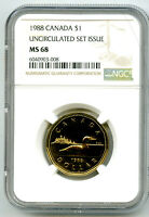 1988 CANADA $1 LOON NGC MS68 UNCIRCULATED LOONIE LY  POP ONL