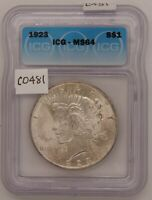1923 SILVER PEACE DOLLAR, ICG, CERTIFIED MINT STATE 64, GEM UNCIRCULATED, SILVER, C481