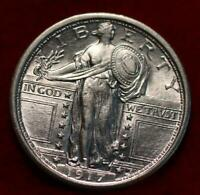 UNCIRCULATED 1917 TYPE I PHIL MINT SILVER STANDING LIBERTY Q