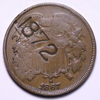 1867 2 CENT PIECE COUNTER STAMP 1872 PATD. SHIPS FREE E714 RCM