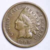 XF 1908 S INDIAN HEAD CENT PENNY