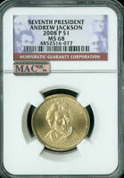 2008-P ANDREW JACKSON PRES. DOLLAR NGC MAC MINT STATE 68 PQ BUSINESS POP-7 SPOTLESS